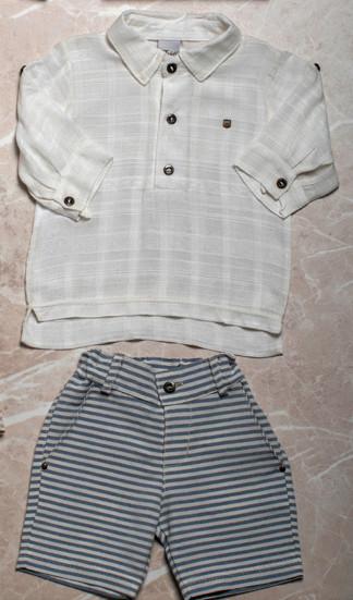 Conjunto Infantil Camisa Bata e Bermuda Menino - Branco - 3