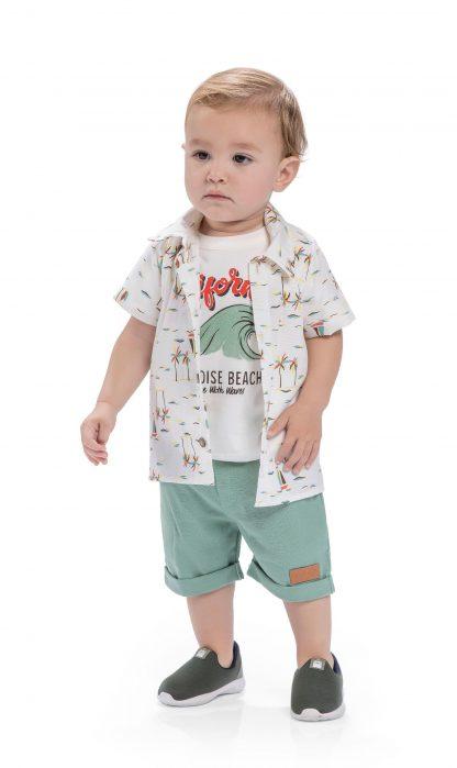 Conj. 3 peças camisa em tricoline, camiseta em malha confort e bermuda em bengaline light- off/marfim/verde e organic