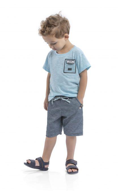 Conj. camiseta em reciclato flamê e bermuda em jacquard listrado - azul neon/chumbo