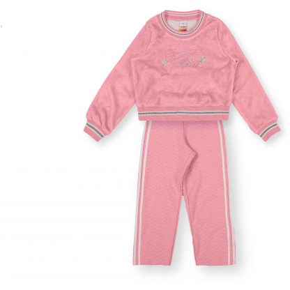 Conjunto Blusão Pelúcia e Calça Pantalona Menina - Rosa - 12