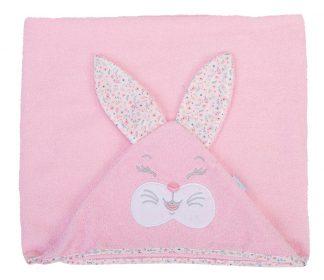 Toalhão com Capuz Coelha - Rosa