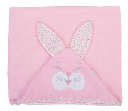Toalhão de banho com Capuz Coelha Menina - Rosa - U