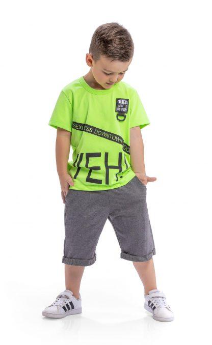 Conjunto camiseta em malha neon e bermuda em moletinho taylor - verde neon/chumbo - VDCH - 10