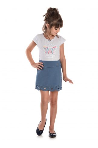 Conjunto Blusa em Cotton e Shorts-saia em Suedine- Branco/Azul