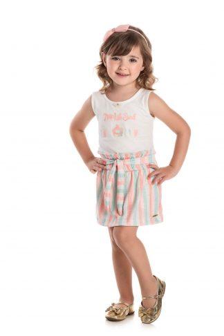 Conjunto Regata e Saia com Shorts em Cotton - Branco/Salmão