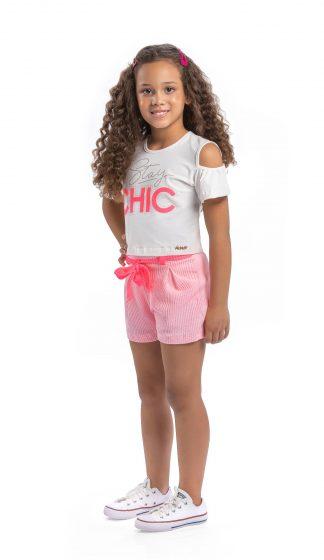 Conjunto Infantil Blusa e Short Menina - Rosa - 10