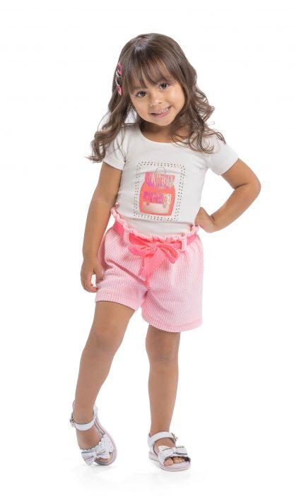 Conjunto blusa em cotton premium e shorts em jacquard lisvete - marfim/rosa neon