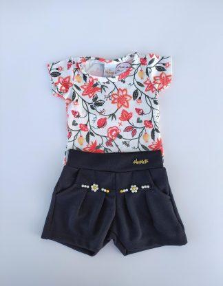 Conjunto Body Floral e Shorts - Vermelho/Preto
