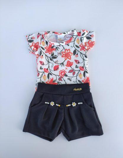 Conjunto Body Floral e Shorts - Vermelho/Preto - VMPT - G