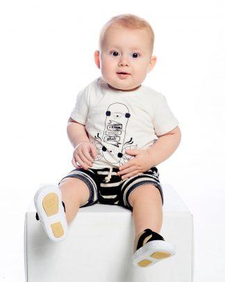 Conjunto Camiseta e SHorts Saruel - Branca/marinho listrado - BRMR - GG