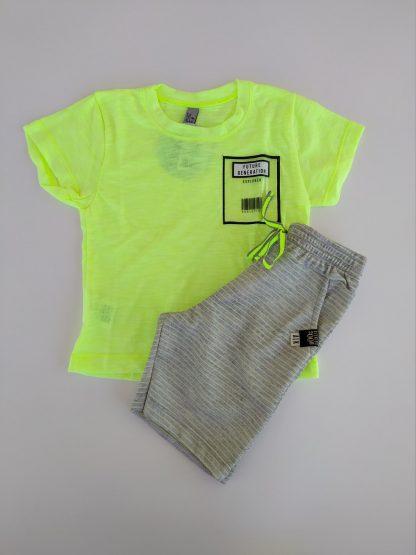 Conjunto Camiseta e Bermuda Listrada - Amarelo Neon /Mescla Banana