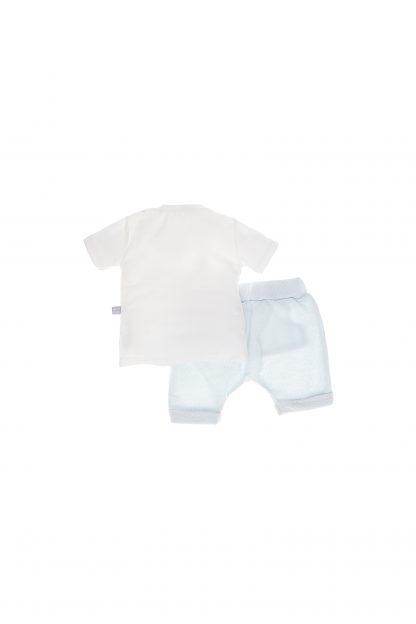 Conjunto Curto - Branco/Azul
