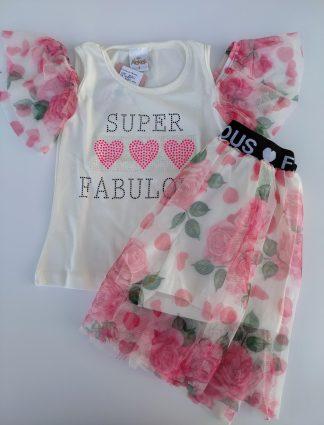 Conjunto  Blusa e Saia Floral Tule - Marfim/Pink
