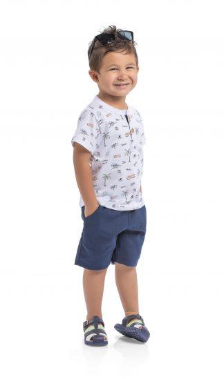 Conjunto Camisa e Bermuda - Branco/Marinho