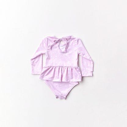 Maiô manga longa com babado UV50 - Rosa com poa Branco