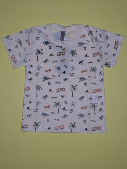 Conjunto Camisa e Bermuda - Marfim/Verde Organic