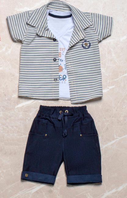 Conjunto 3 peças Camisa listrada, camiseta Tiger e Bermuda - Azul
