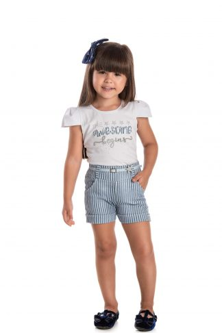 Conjunto Blusa e Short Infantil Menina