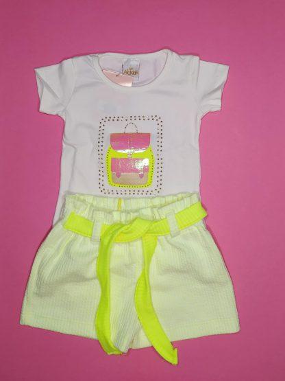 Conjunto blusa em cotton premium e shorts em jacquard lisvete - marfim/amarelo neon
