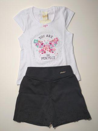 Conjunto Blusa em Cotton e Shorts-Saia em Suedine Branco/Preto