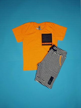 Conj. camiseta em malha neon e bermuda em tricot listrado - laranja neon/marinho