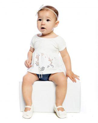Conjunto Curto, Blusa e Body - Branco/Azul