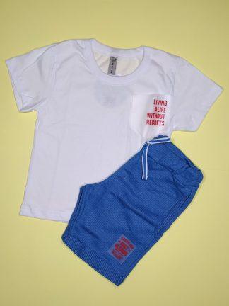 Conjunto camiseta em malha confort e bermuda em moletinho taylor - branco/azul nautico