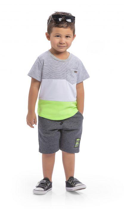 Conj. camiseta em malha confort e malha listy e bermuda em moletinho Hawaii- mescla/branco/verde neon / preto