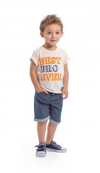 Conj. camiseta em malha botonê neon e bermuda em moletinho jeans - laranja neon/marinho