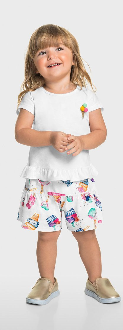 Conjunto Blusa e Short com dependencia Menina - Branco - 4
