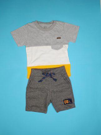 Conj. camiseta em malha confort e malha listy e bermuda em moletinho Hawaii- Mescla /marfim/laranja neon/cinza