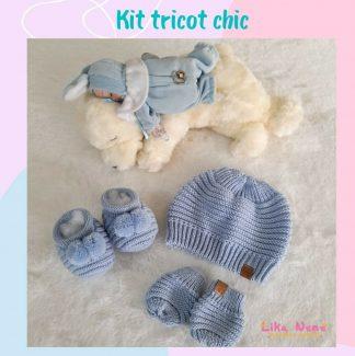 kit Touca Tricot Chic Bebê