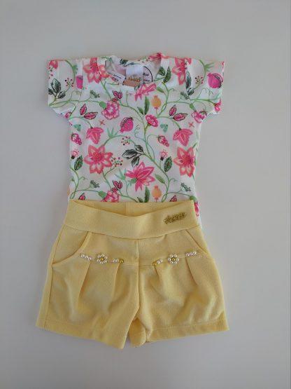 Conjunto Body Floral e Shorts - Vermelho/Preto - RS - G