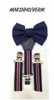 Kit Suspensório e Gravata Borboleta Infantil Menino - Azul-marinho - U