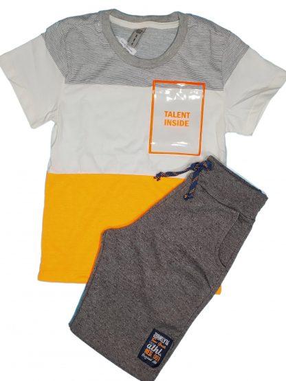 Conjunto Infantil Camiseta Neon e Bermuda - Laranja - 10