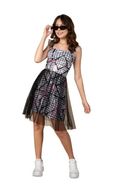 Vestido Menina com Detalhes em Tule - Preto - 18