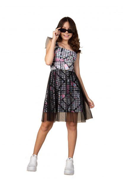 Vestido Menina com Detalhes em Tule