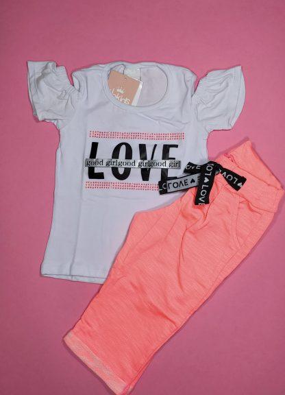 Conjunto blusa em cotton premium e capri em moletinho neon - marfim/ laranja neon - RS - 3
