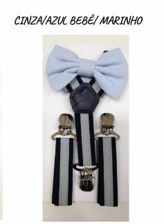 Kit Suspensório e Gravata Borboleta Infantil Menino - Azul - U