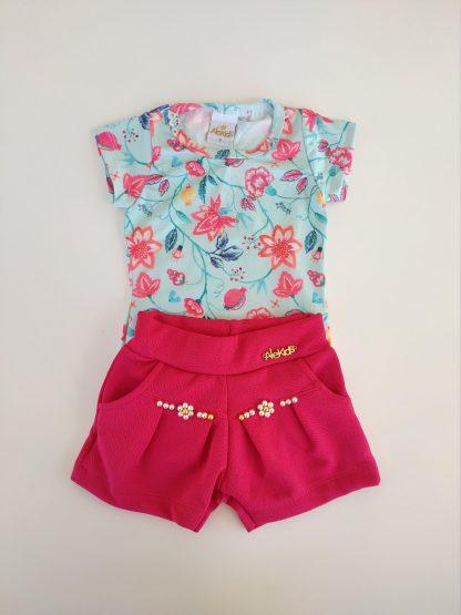 Conjunto Body Floral e Shorts - Vermelho/Preto - VDPN - G