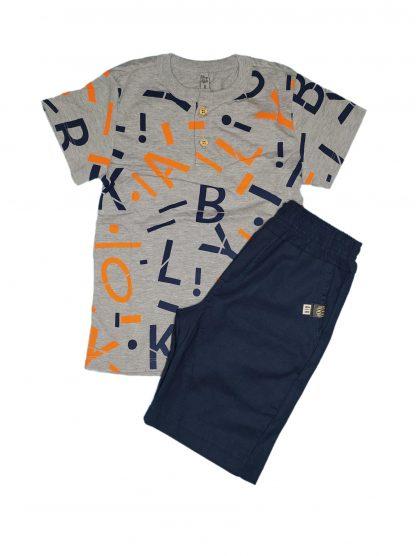 Conjunto Infantil Camiseta e Bermuda - Azul-marinho - 10