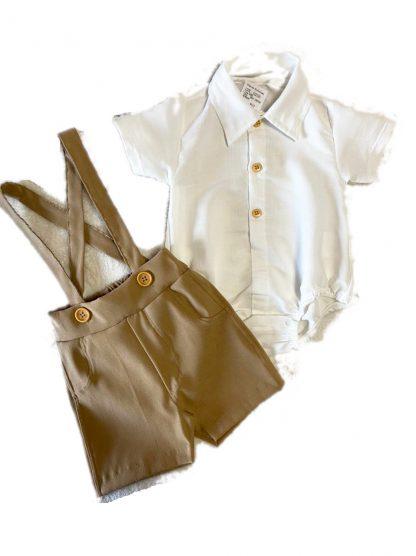 Conjunto Bebê Body Camisa, Bermuda com Suspensório - Bege - GG