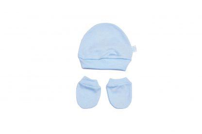 Kit Gorro e Luva de Suedine Bebê - Azul-claro - P