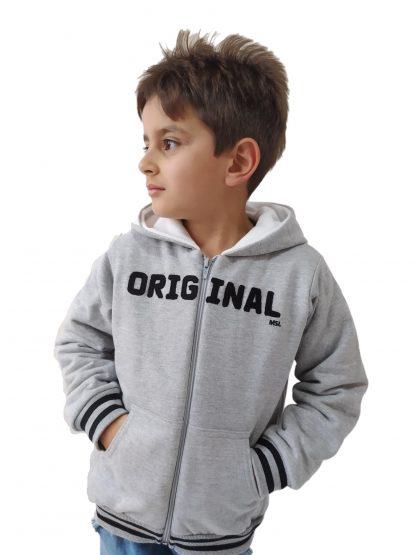Jaqueta Infantil em Moletom com Forro Peluciado Menino - Cinza - 16