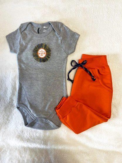 Conjunto Body e Calça Bebê Menino - Laranja - GG