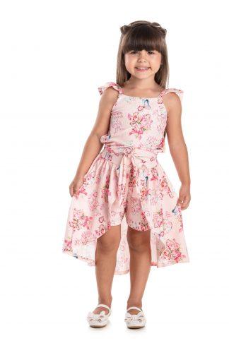 Conjunto Infantil Cropped e Short Saia - Rosa - 3