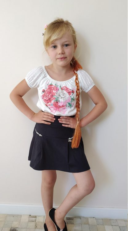 Conjunto Infantil Blusa e Short Saia Menina - Preto - 12