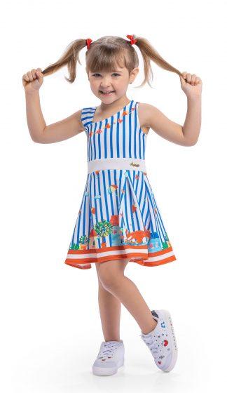 Vestido Listrado Menina - Azul - 3