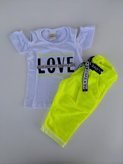 Conjunto blusa em cotton premium e capri em moletinho neon - marfim/ laranja neon - BRAM - 3