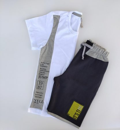 Conj. camiseta em malha confort e bermuda its time em moletinho - preto/branco/tangerina